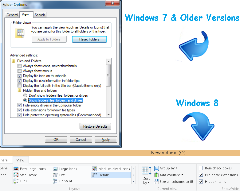 Show hidden files and folders windows 7 -8 - Recovery