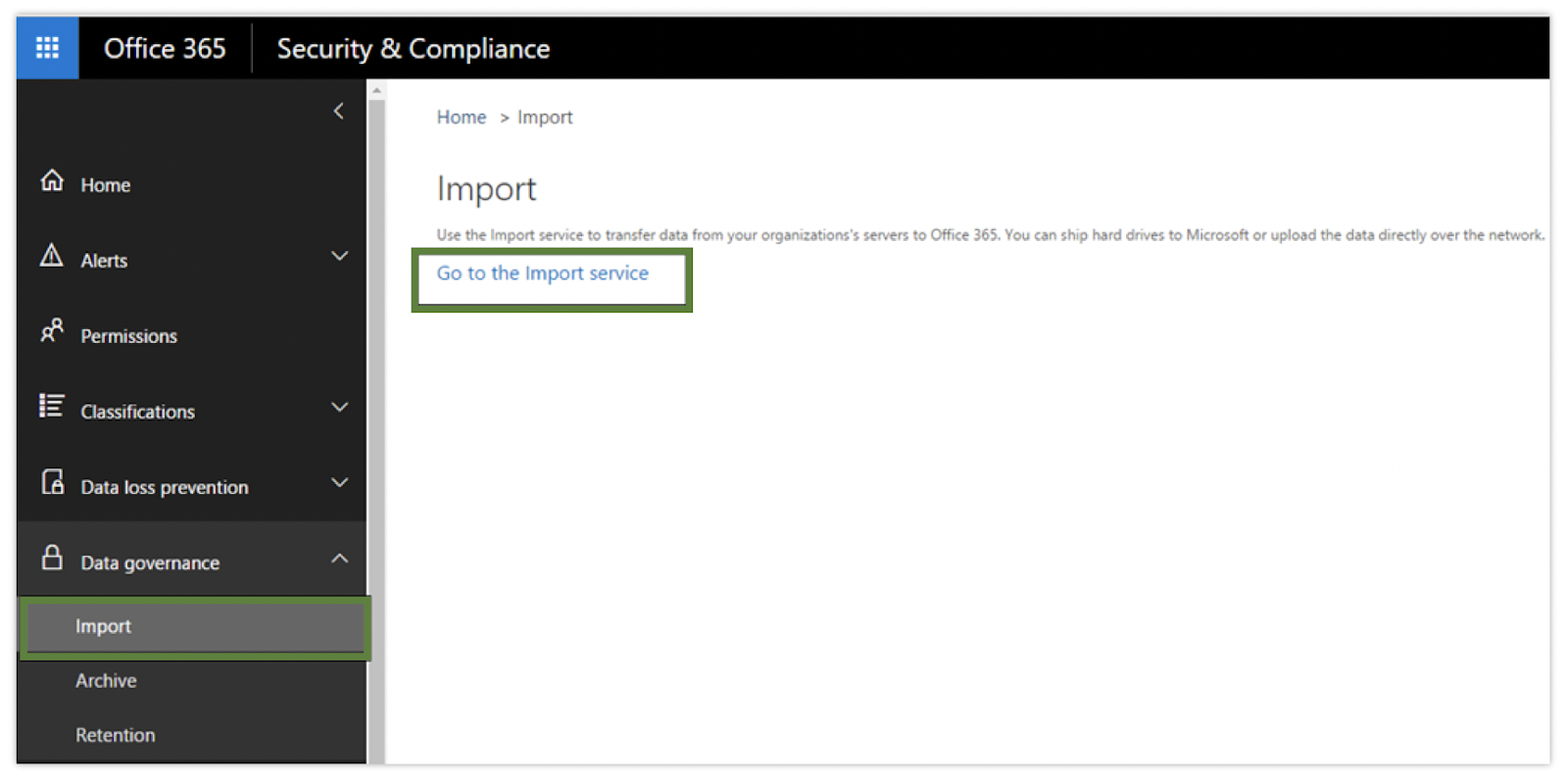 security & compliance center window of O365