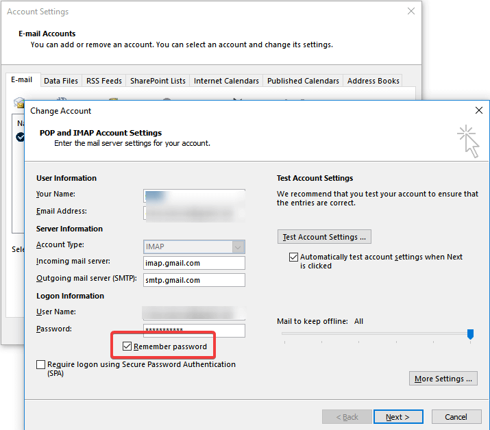 outlook remember password