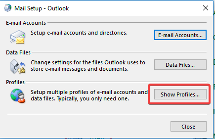 outlook show profile