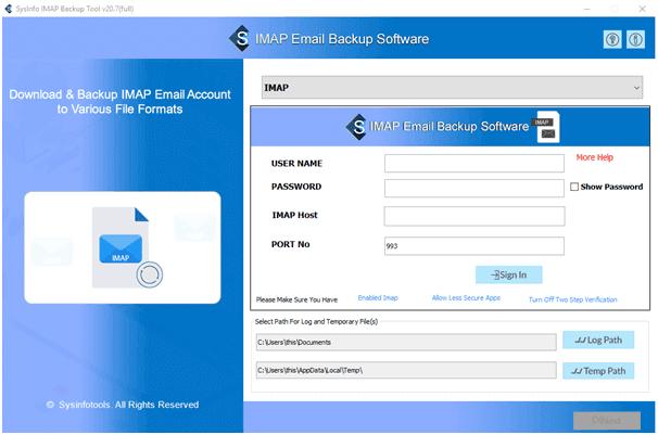 start imap email backup tool