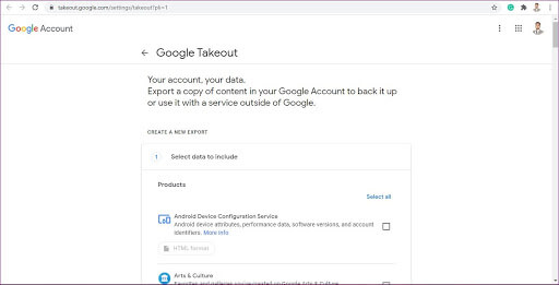 go to google takeout