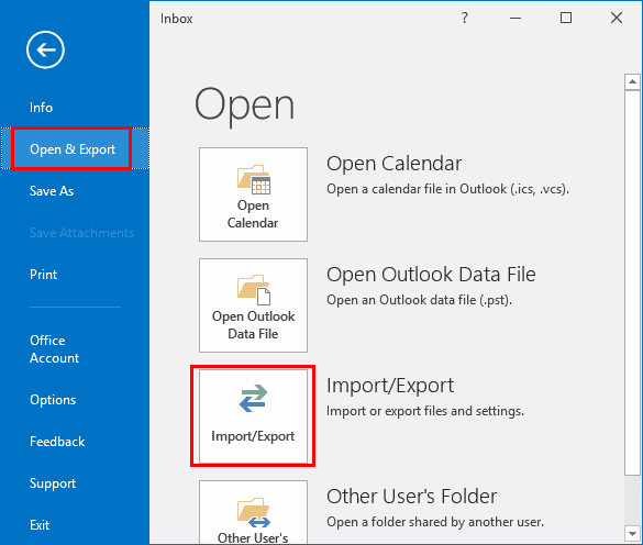 open and export option