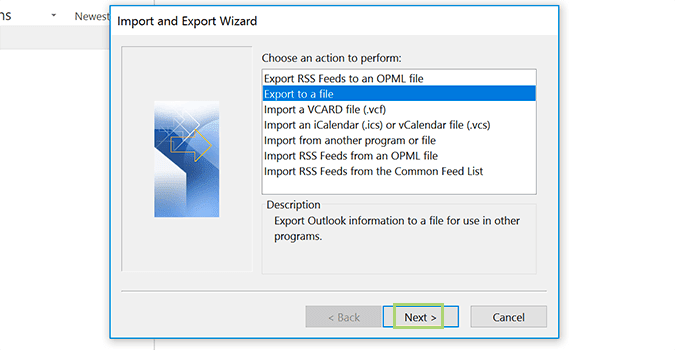 click export to file