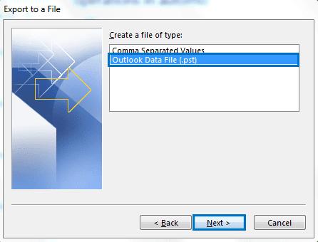outlook data file select