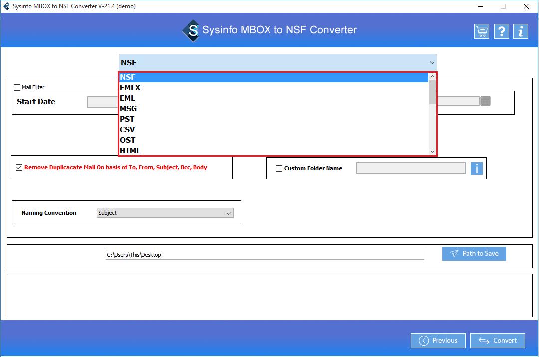 choose nsf file format